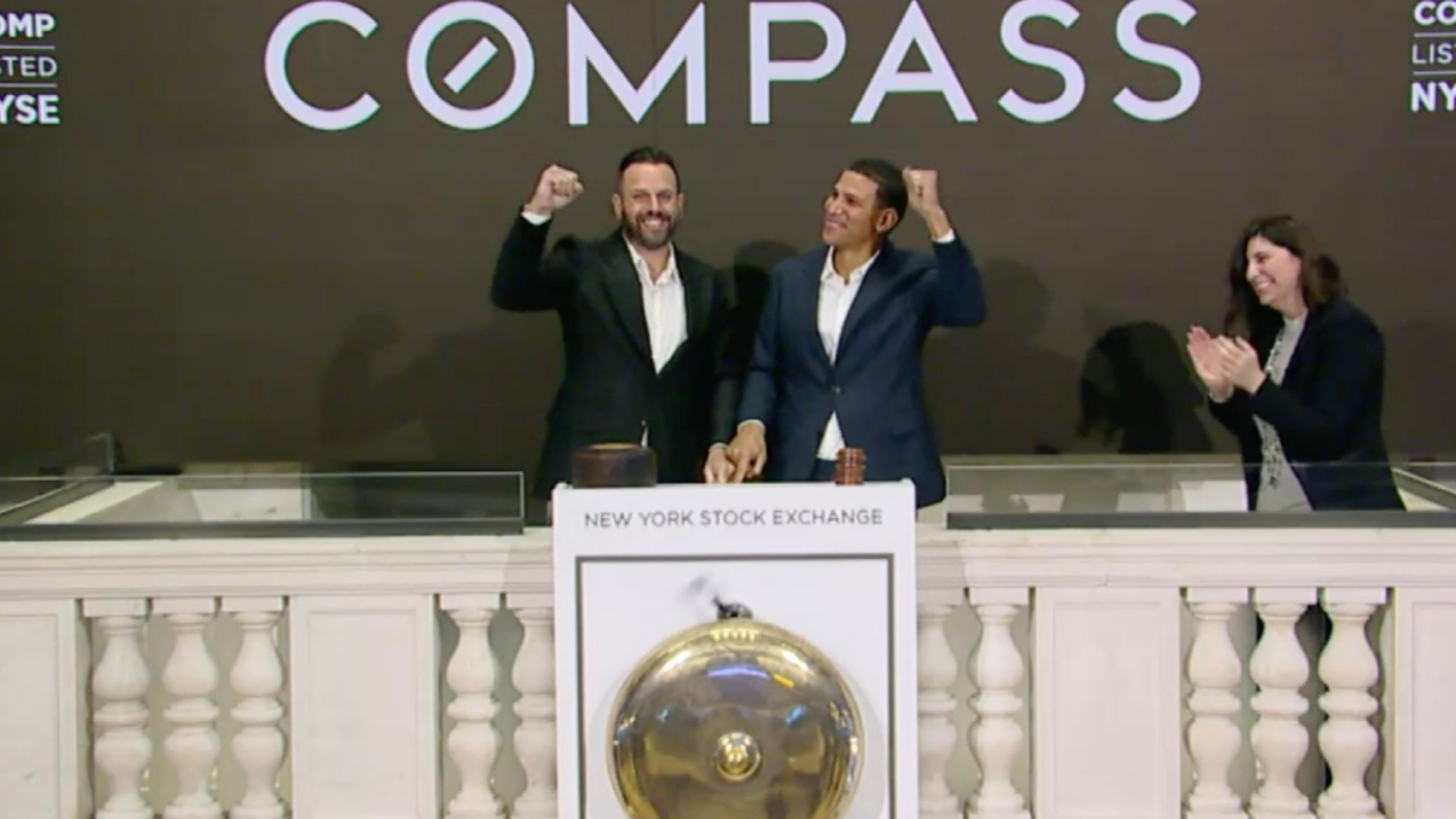Compass IPO, priced at $18 per share, opens at $21.25 on NYSE