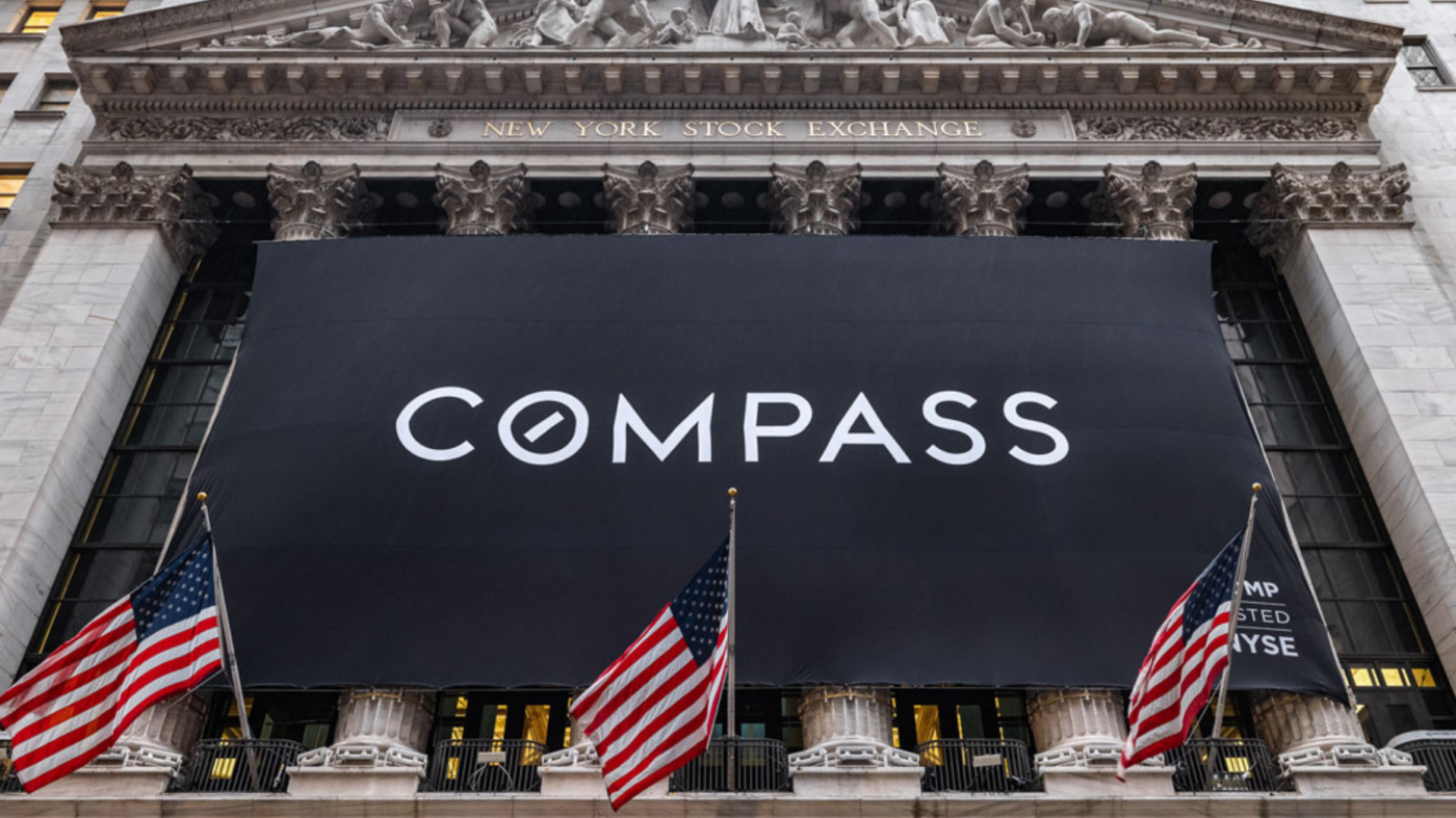 Compass stock closes at $20.15 per share on first day on the market