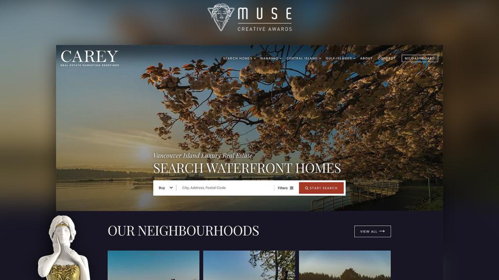 Real Estate Webmasters wins Gold award for design of CarlyCarey.com