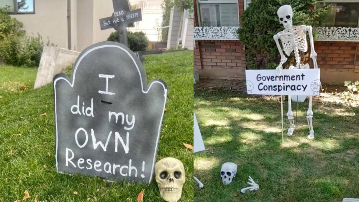 Homeowners 'jab' at anti-vaxxers with grim Halloween displays